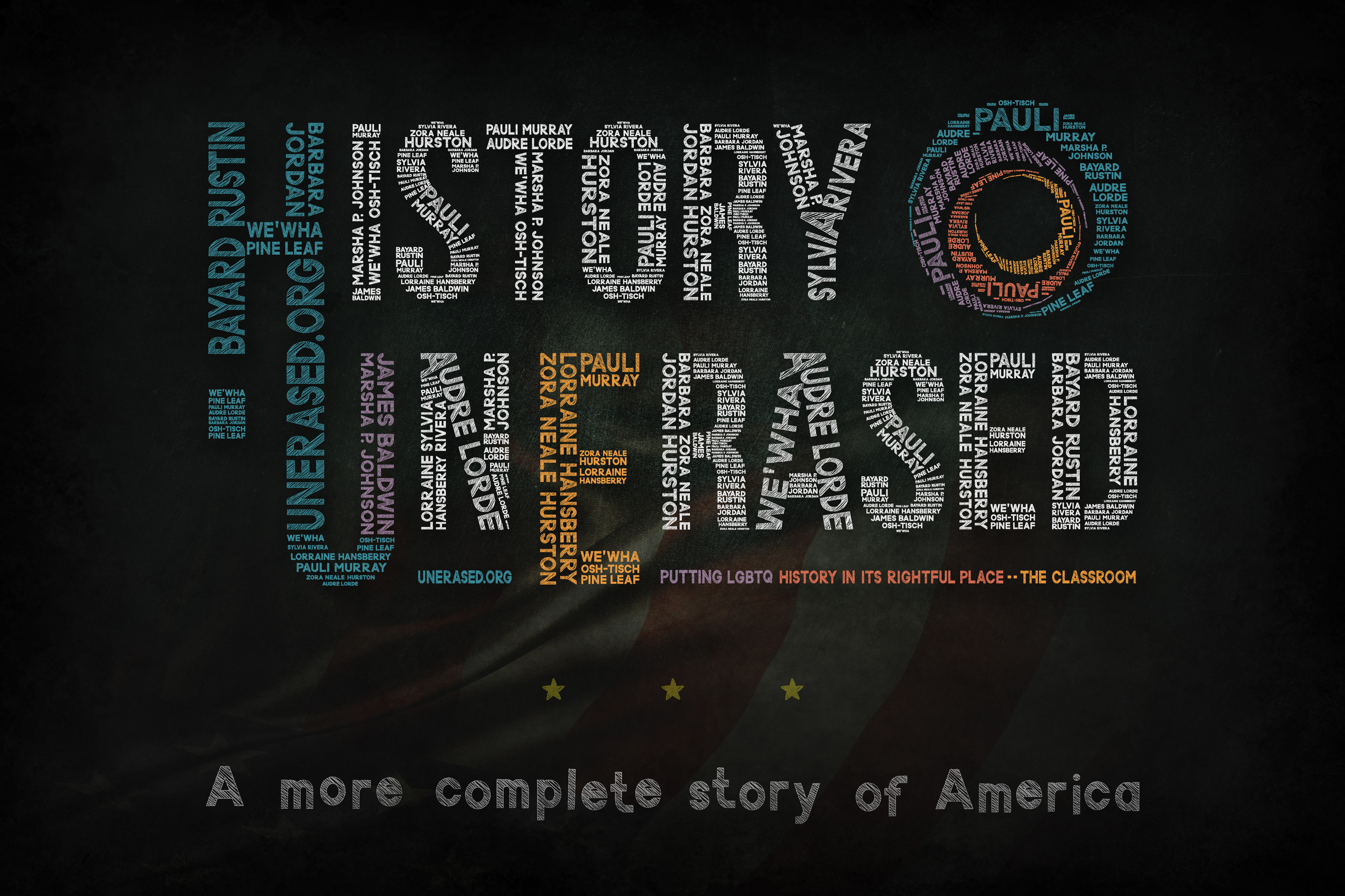 LGBTQ Black, Indigenous, People of Color names within History UnErased's logo