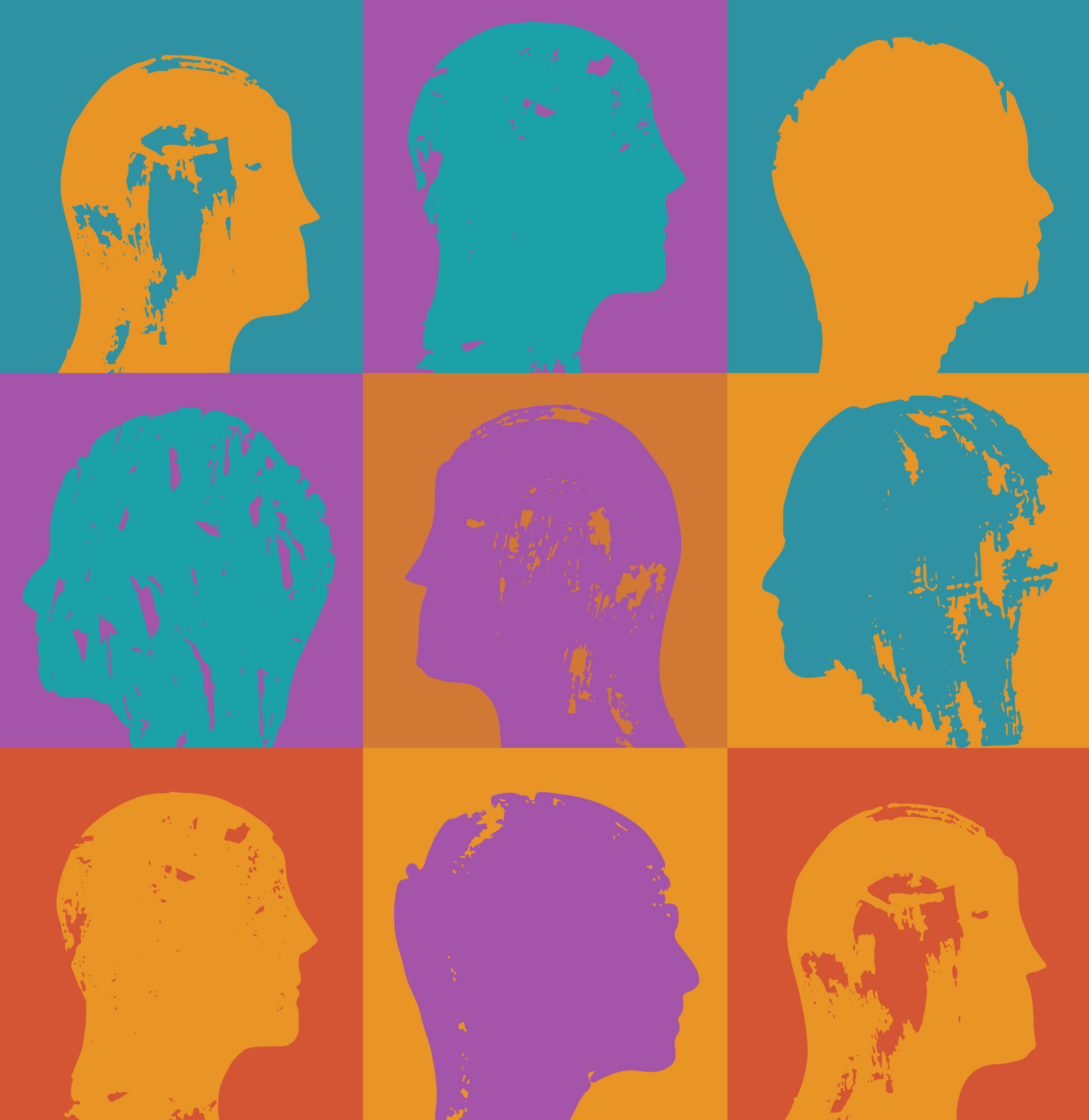 color squares with images of people
