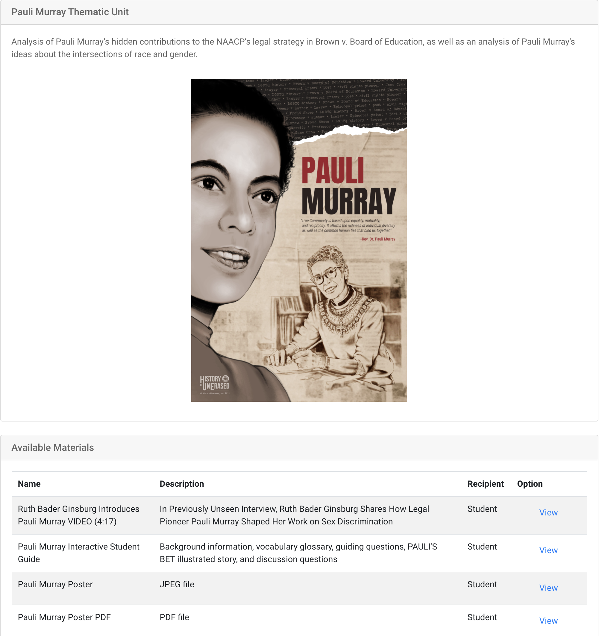 pauli murray thematic unit student view of resource home page