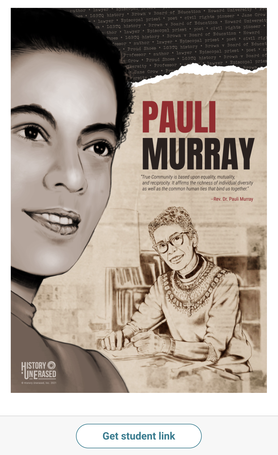 pauli murray instructional resource with get student link button