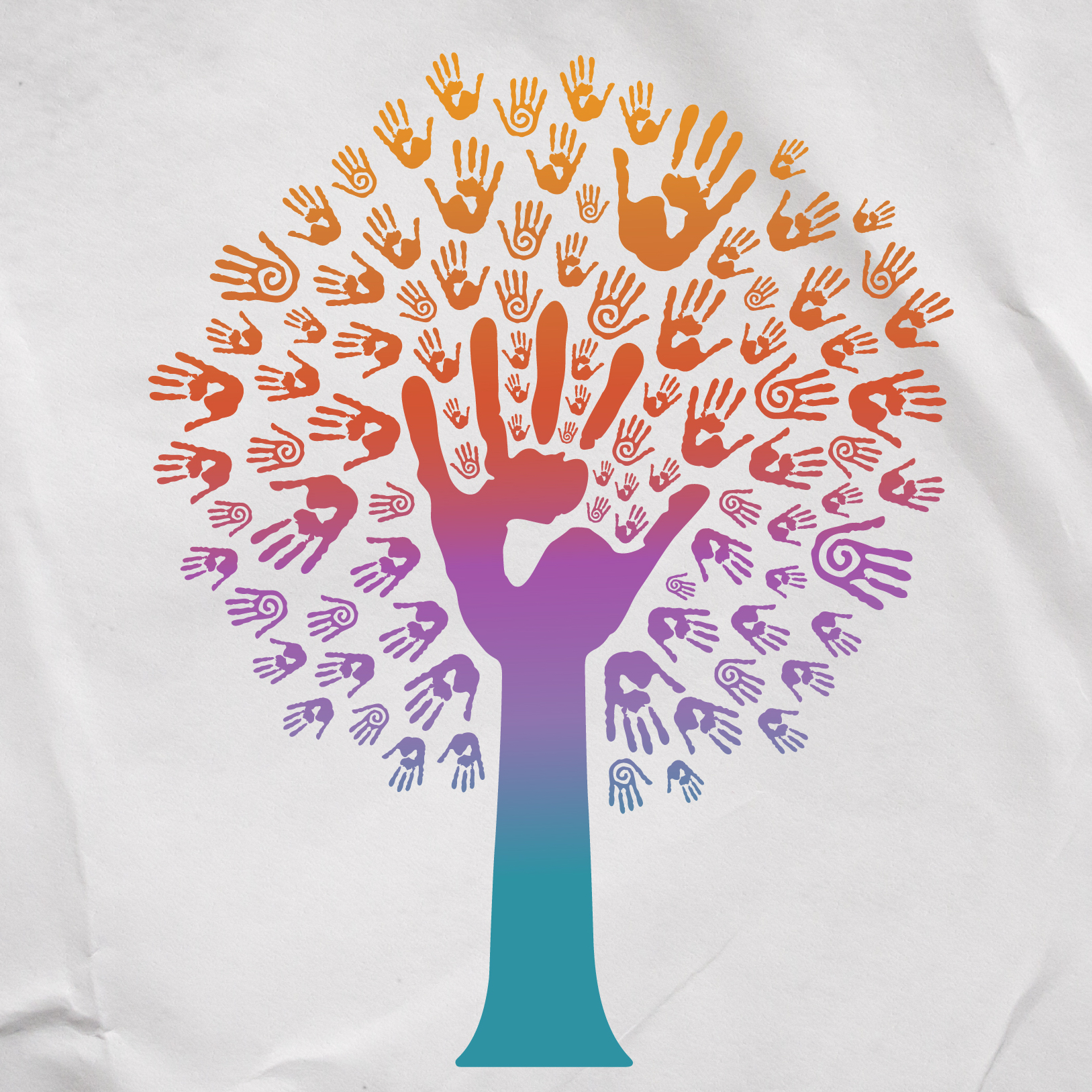 tree with multicolored hands as leaves