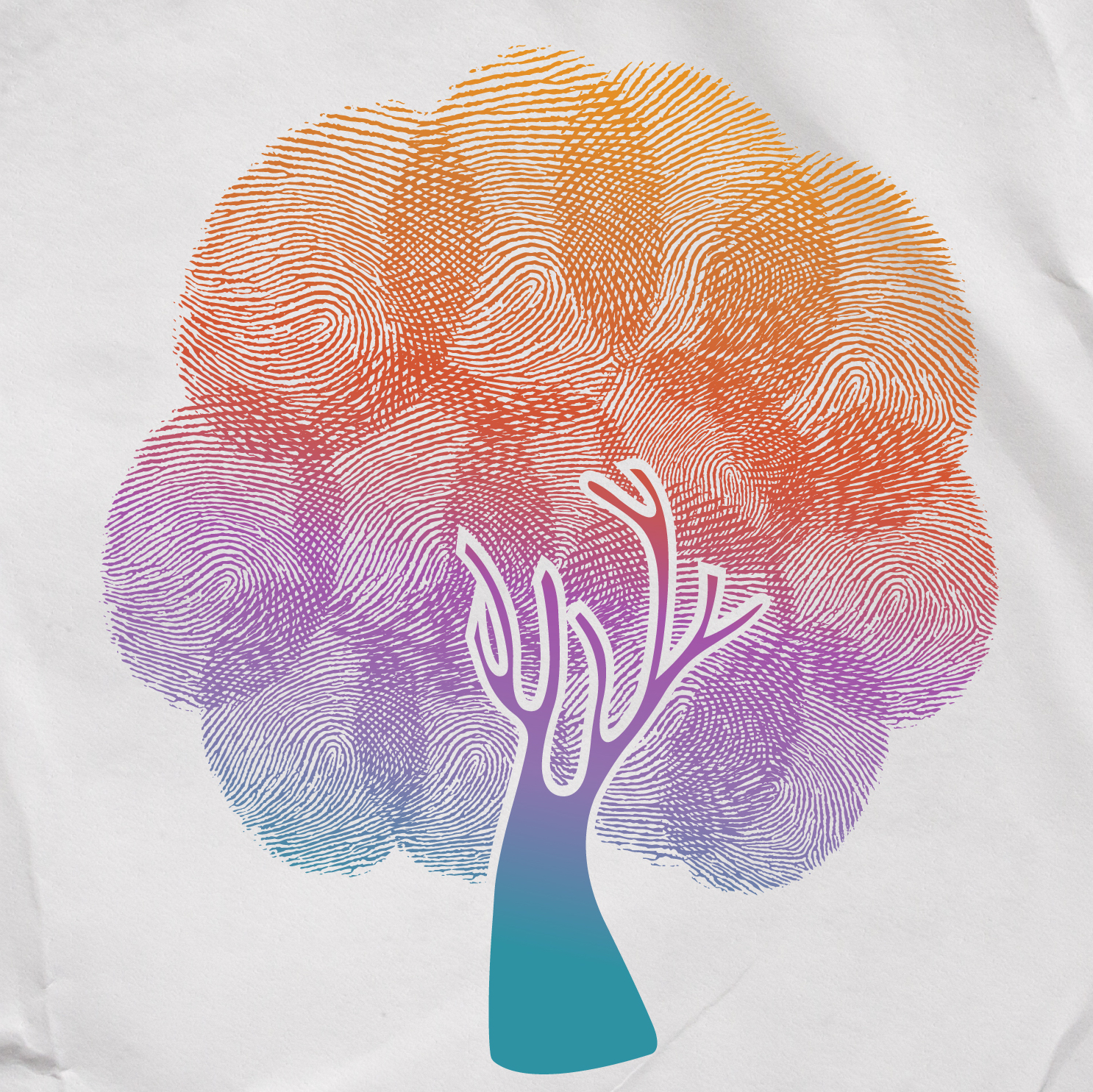 tree with multicolored fingerprint leaves